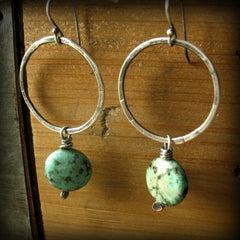 Esta | African Turquoise Handmade Circle Earrings - Andewyn Designs