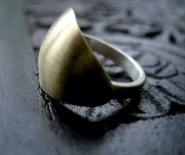 Shield Sterling Silver and Brass Shield Ring - Andewyn Designs 1