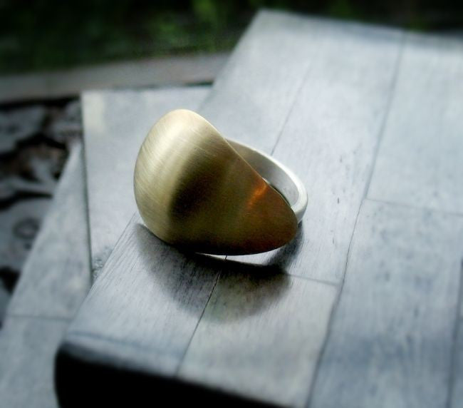 Shield Sterling Silver and Brass Shield Ring - Andewyn Designs 3
