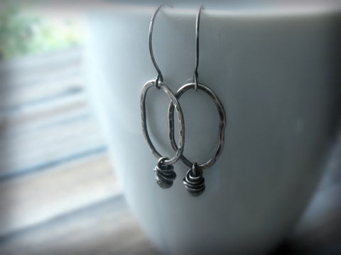 Fringed Handmade Sterling Silver Oval Single Bead Earrings - Andewyn Designs