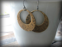 Handmade Hammered Brass Open Circle Earrings - Andewyn Designs 3