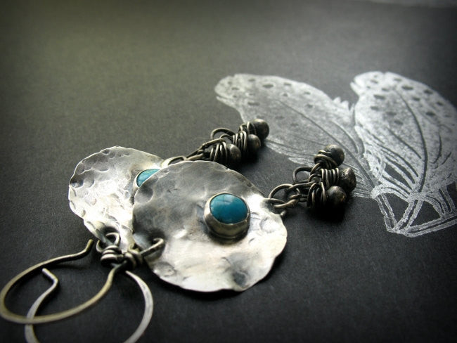 On A Desert Wind Handmade Sterling Silver and Turquoise Beaded Boho Earrings - Andewyn Designs 5