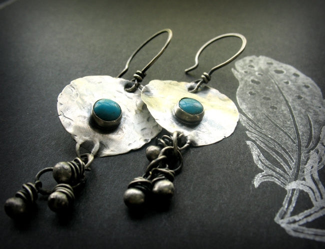 On A Desert Wind Handmade Sterling Silver and Turquoise Beaded Boho Earrings - Andewyn Designs 4