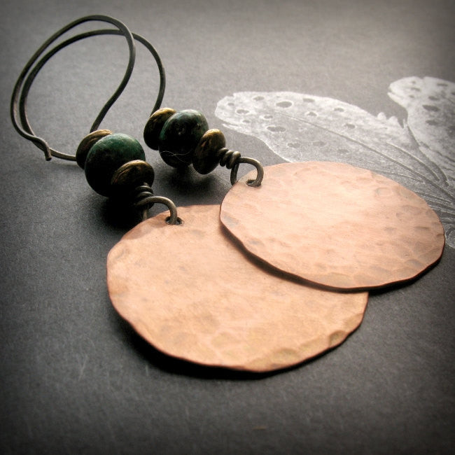 Handmade Copper and African Turquoise Large Circle Tribal Earrings with Sterling Silver Ear wires - Andewyn Designs 3