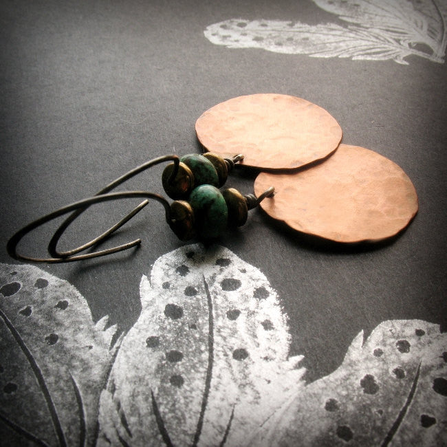Handmade Copper and African Turquoise Large Circle Tribal Earrings with Sterling Silver Ear wires - Andewyn Designs 2