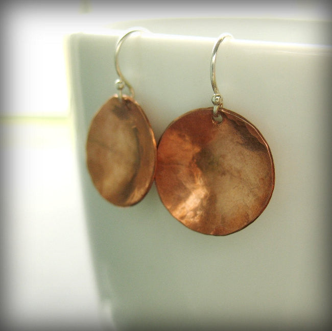 Pool Handmade Copper Concave Disc Minimalist Earrings with Sterling Silver French Ear Wires - Andewyn Designs 4