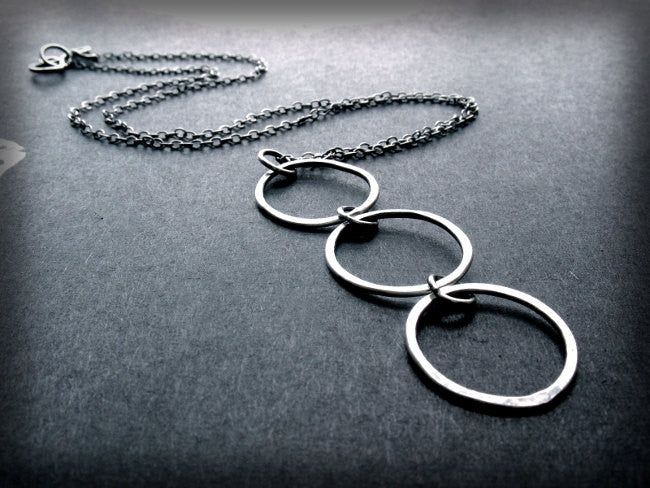 Essential Connections Handmade Sterling Silver Triple Circle Necklace - Andewyn Designs