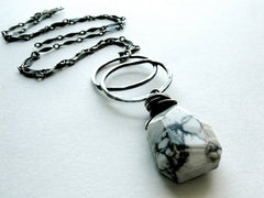 Remnant Handmade Sterling Silver Double Circle and Howlite Natural Stone Pendant Necklace by  Andewyn Designs 1