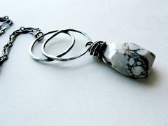 Remnant Handmade Sterling Silver Double Circle and Howlite Natural Stone Pendant Necklace by  Andewyn Designs 5