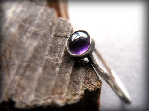 Sterling Silver and Amethyst Thin Stacking Ring - Andewyn Designs