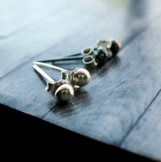 Handmade Sterling Silver Tiny Ball Minimalist Stud Post Earrings - Andewyn Designs