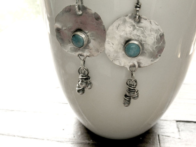 On A Desert Wind Handmade Sterling Silver and Turquoise Beaded Boho Earrings - Andewyn Designs 2
