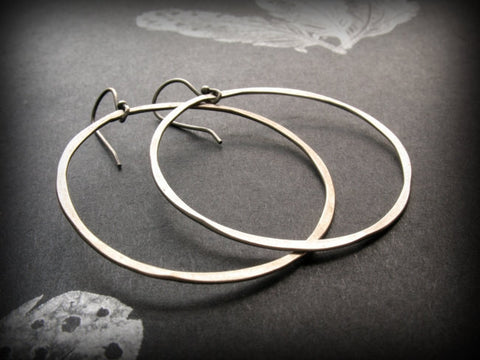Handmade Hammered Sterling Silver Open Circle Hoop Earrings - Andewyn Designs 1