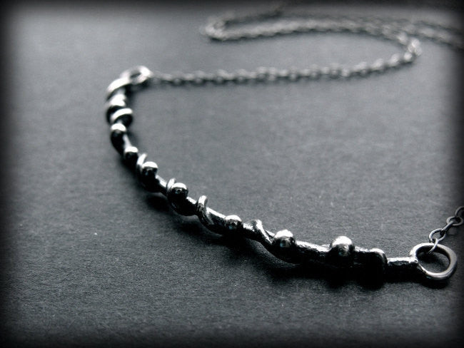 Handmade Sterling Silver Wire Wrapped Curved Bar Boho Necklace - Andewyn Designs