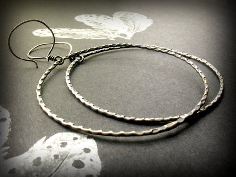 Handmade Sterling Silver Rugged Large Circle Hoop Earrings - Andewyn Designs