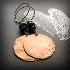 Handmade Copper and African Turquoise Large Circle Tribal Earrings with Sterling Silver Ear wires - Andewyn Designs