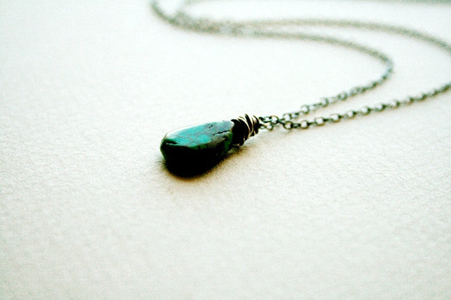 Handmade Sterling Silver and Turquoise Minimalist Adjustable Chain Necklace - Andewyn Designs