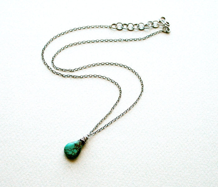 Handmade Sterling Silver and Turquoise Minimalist Adjustable Chain Necklace - Andewyn Designs 2