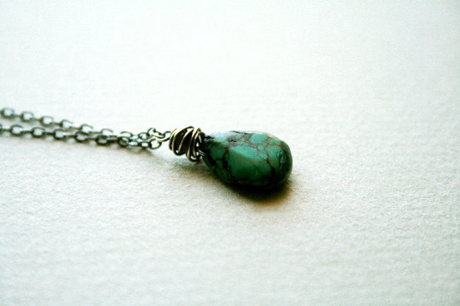 Handmade Sterling Silver and Turquoise Minimalist Adjustable Chain Necklace - Andewyn Designs 3