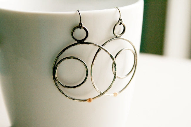 Phases Handmade Sterling Silver and Gold Moon Phases Earrings - Andewyn Designs