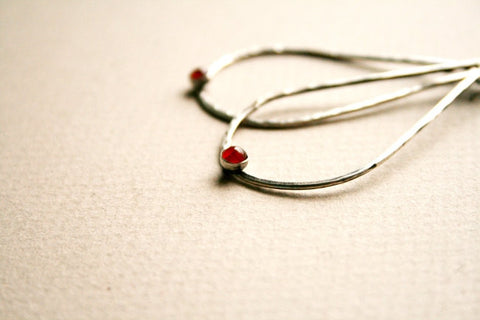 Sterling Silver and Carnelian handmade teardrop earrings by Andewyn Designs