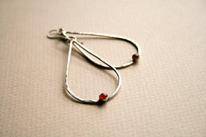 Catalena Handmade Sterling Silver and Carnelian Tear Drop Earrings - Andewyn Designs