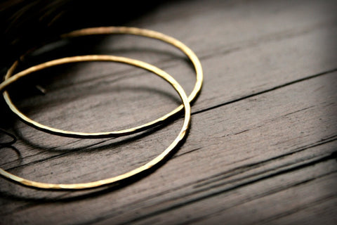 Prisms Handmade Hammered Brass Medium Circle Earrings - Andewyn Designs 1