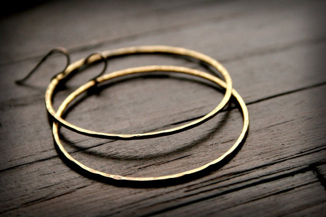Prisms Handmade Hammered Brass Medium Circle Earrings - Andewyn Designs 5