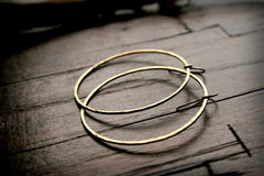 Prisms Handmade Hammered Brass Medium Circle Earrings - Andewyn Designs 3
