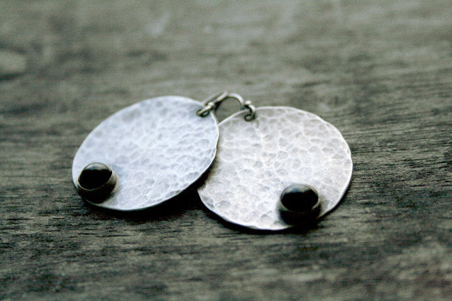Full Moon Handmade Sterling Silver and Black Onyx Disc Earrings- Andewyn Jewelry