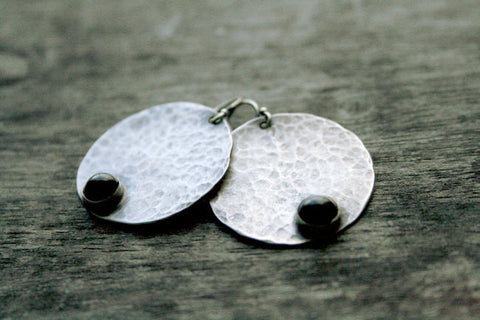 Sterling Silver Circle Earrings with Black Onyx Full Moon by Andewyn Designs