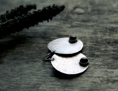 Full Moon Handmade Sterling Silver and Black Onyx Disc Earrings- Andewyn Designs