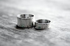 Sterling Silver Handmade Wide Band Wedding Commitment Personalized Rings - Andewyn Designs 3