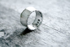 Sterling Silver Handmade Wide Band Wedding Commitment Personalized Rings - Andewyn Designs 5