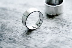 Sterling Silver Handmade Wide Band Wedding Commitment Personalized Rings - Andewyn Designs 2