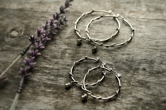 Handmade Sterling Silver Wire Wrapped Beaded Large Boho Hoops - Andewyn Designs 3