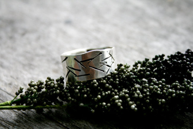 Stellar Handmade Sterling Silver Wide Band Hand Stamped Personalized Ring - Andewyn Designs 3