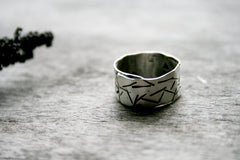 Stellar Handmade Sterling Silver Wide Band Hand Stamped Personalized Ring - Andewyn Designs 4