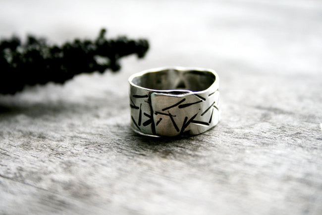 Stellar Handmade Sterling Silver Wide Band Hand Stamped Personalized Ring - Andewyn Designs