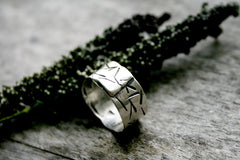 Stellar Handmade Sterling Silver Wide Band Hand Stamped Personalized Ring - Andewyn Designs 2