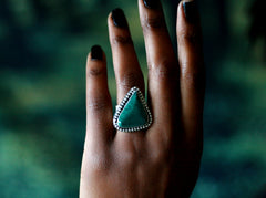 Headed West - Handmade Sterling Silver and Malachite Southwestern Wide Band Ring -  Andewyn Designs 3
