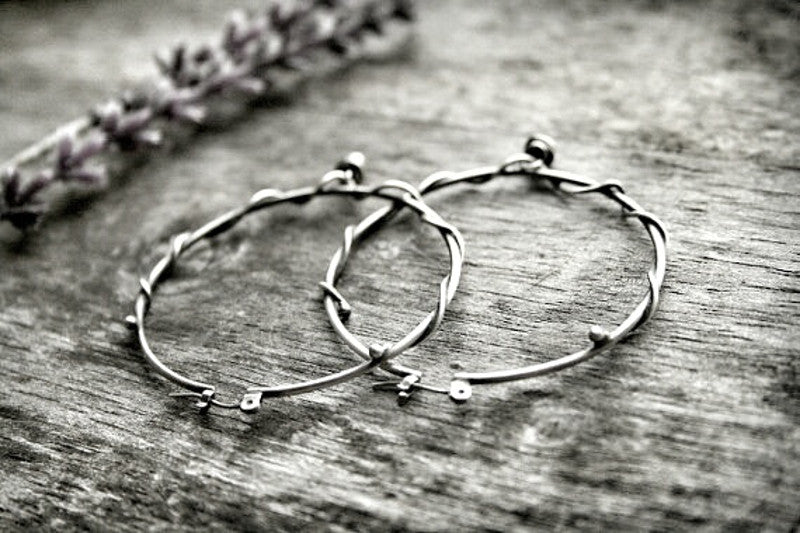 Handmade Sterling Silver Wire Wrapped Beaded Large Boho Hoops - Andewyn Designs 4