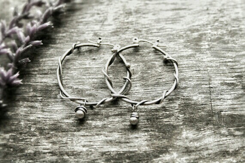 Handmade Sterling Silver Wire Wrapped Beaded Small Boho Single Bead Hoops - Andewyn Designs 3