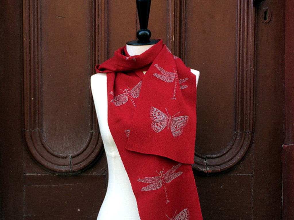 Red dragonfly merino scarf