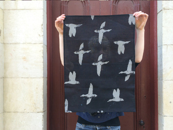Black linen ducks tea towel