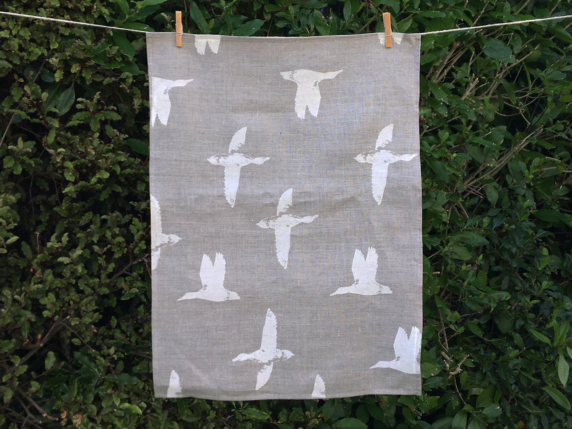 Linen ducks tea towel