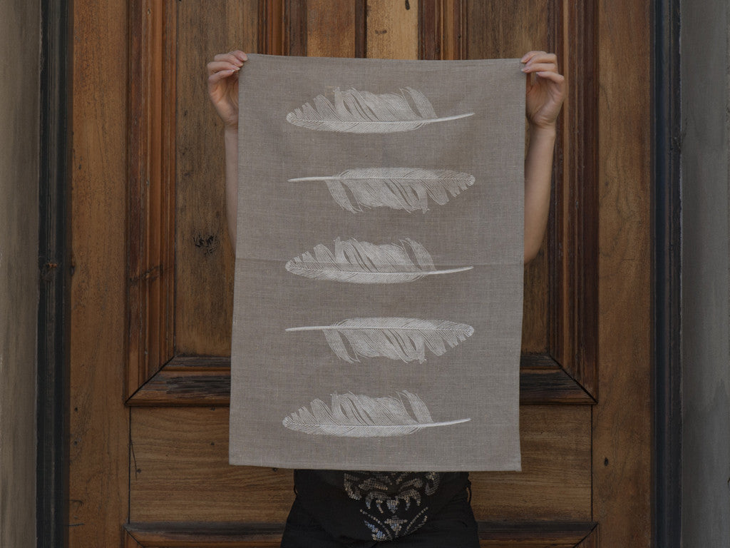 Linen tea towel bird feather hand printed new zealand