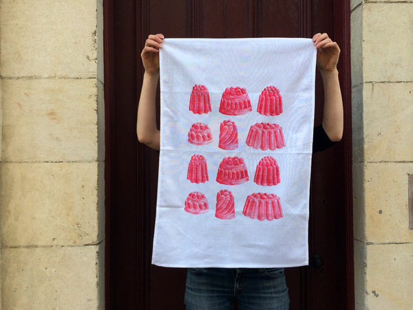 Red strawberry jelly tea towel