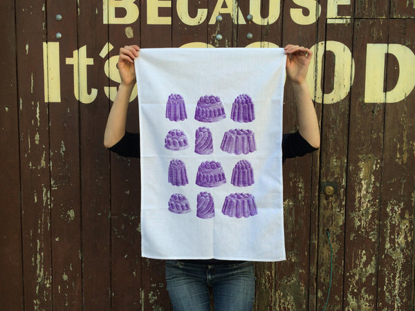 Purple boysenberry jelly tea towel