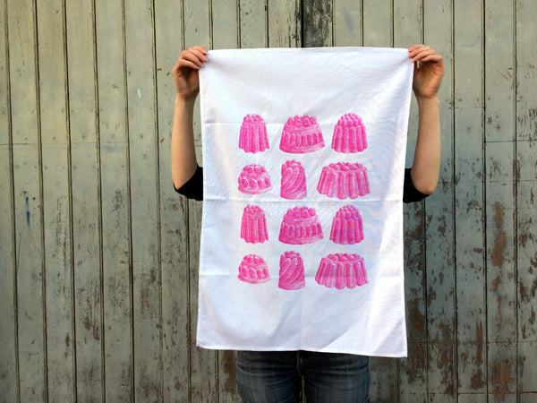 Pink rasberry jelly tea towel